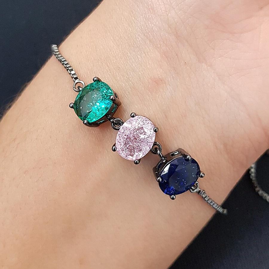 Pulseira Gravatinha Pedra Fusion Oval Grafite Azul Marinho Rosa Verde