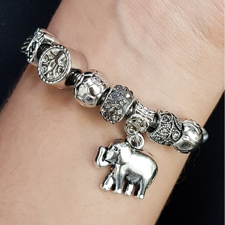 Pulseira Pandora Elefante Prata Fumê
