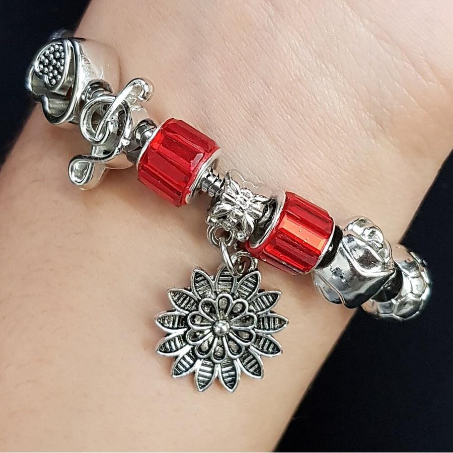 Pulseira Pandora Pingentes Prata Vermelho