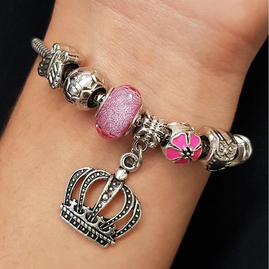 Pulseira Pandora Pingentes Prata Rosa