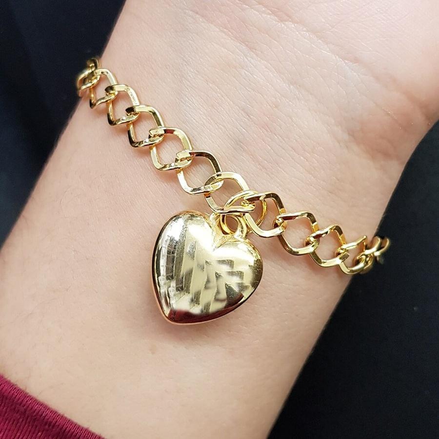 Pulseira Folheada Dourada Coração
