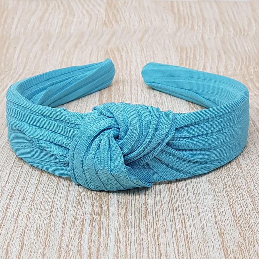 Tiara de Nó Tecido Canelado Azul Claro