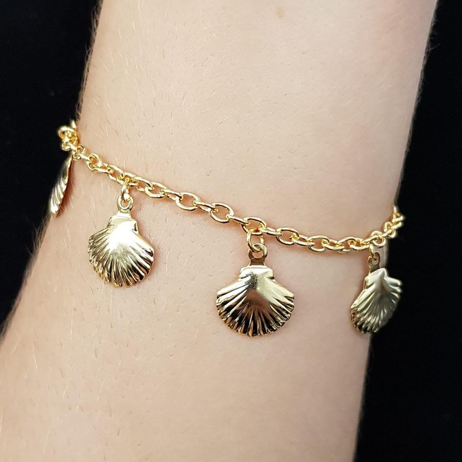 Pulseira Folheada Dourada Conchas