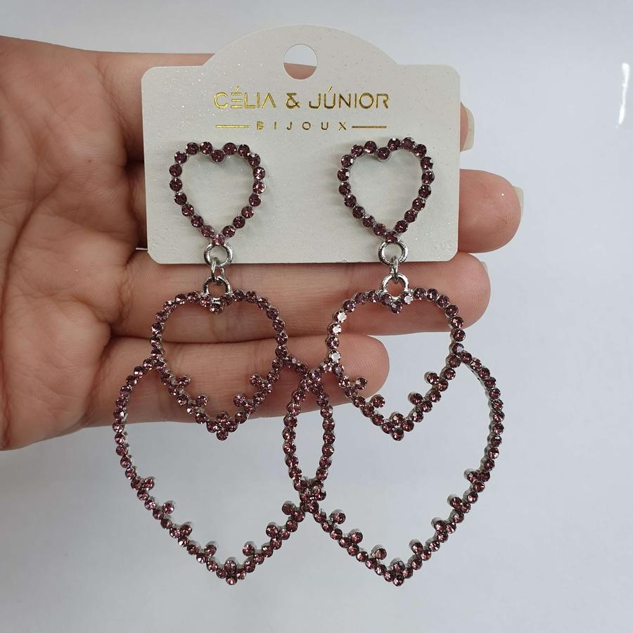 Brinco Grande Coração Prata Rosa