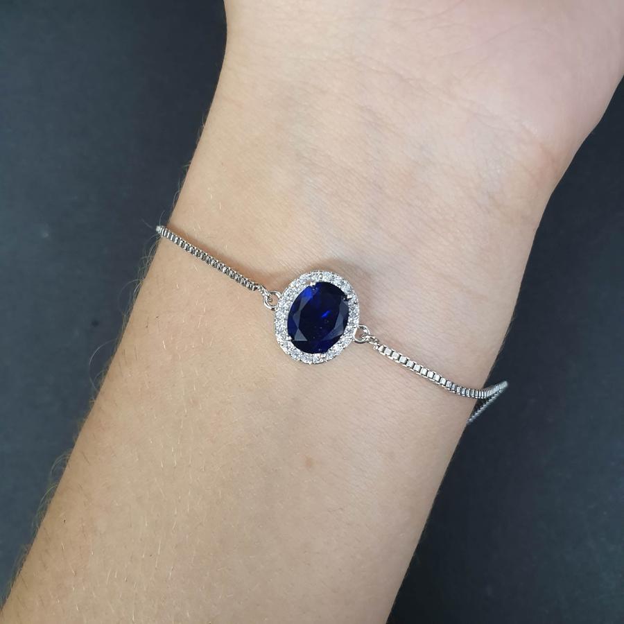 Pulseira Gravatinha Zircônia Prata Azul Marinho