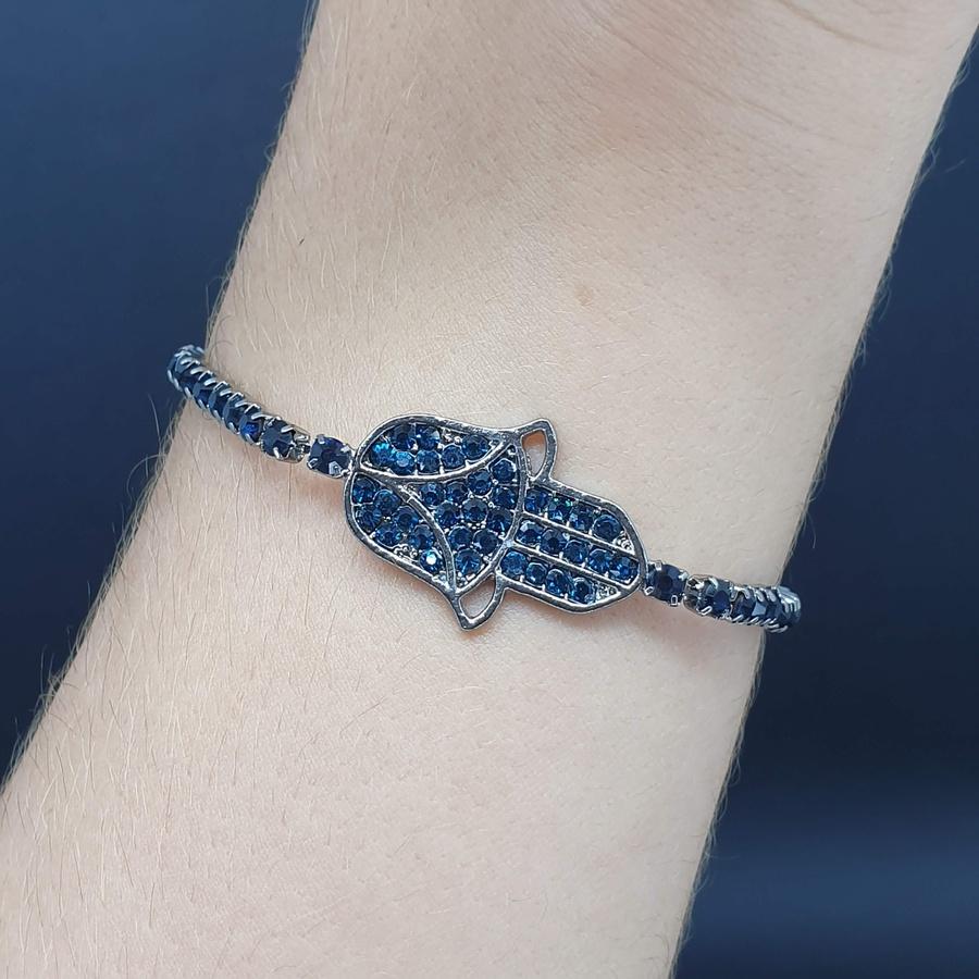 Pulseira Gravatinha Hamsá Grafite Azul Marinho