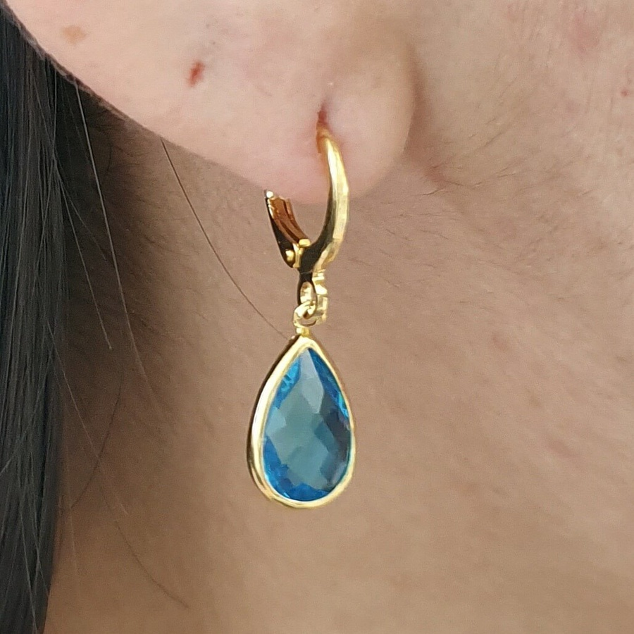 Mini Argola Folheada Dourado Gota Azul Claro