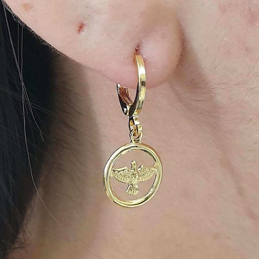 Mini Argola Folheada Dourado Pomba Da Paz