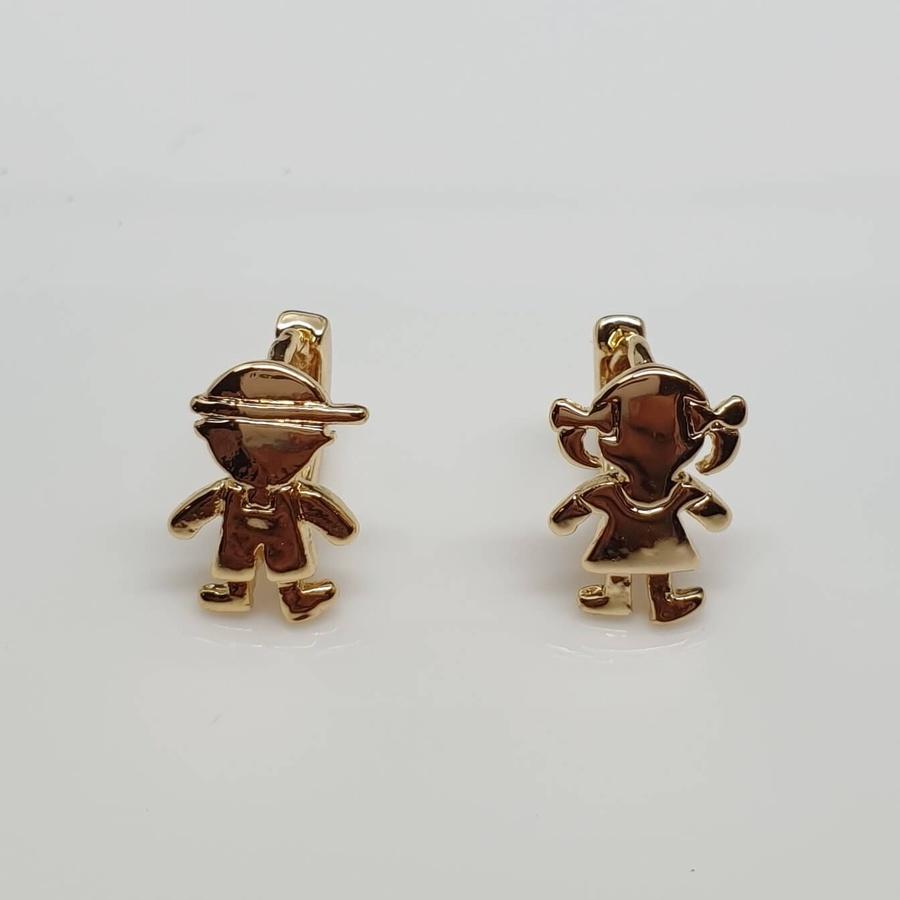 Mini Argola Semi Joia Casal Dourado