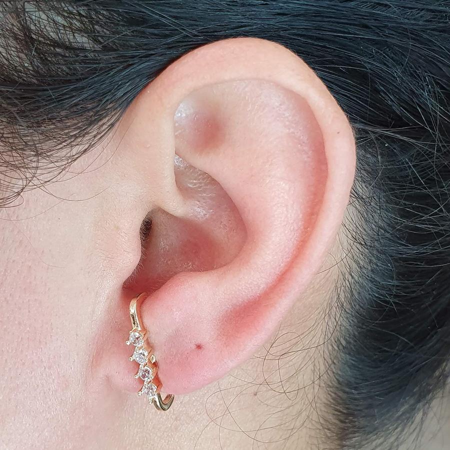 Brinco Ear Hook Semi Joia Ouro