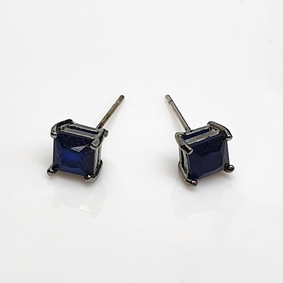 Brinco Semi Joia Ródio Negro Quadradinho Azul Marinho