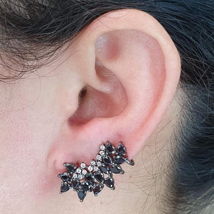 Brinco Ear Cuff Semi Joia Ródio Negro Hematita