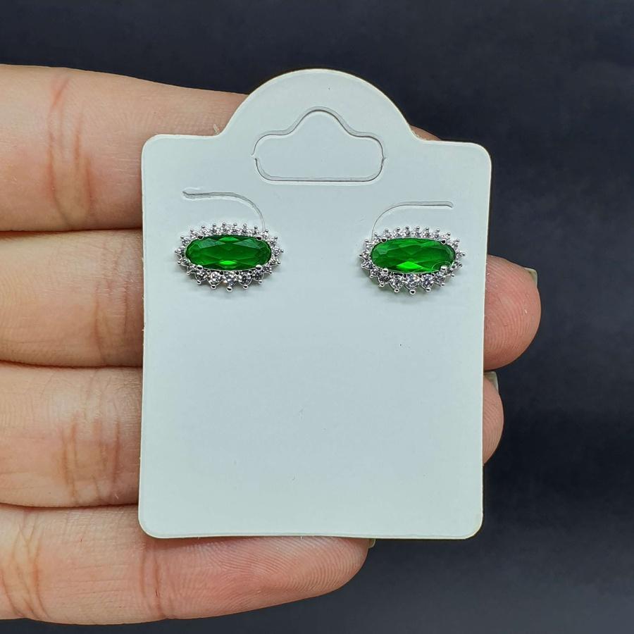 Brinco Folheado Zircônia Tiffany Prata Verde