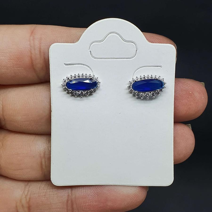 Brinco Folheado Zircônia Tiffany Prata Azul Marinho