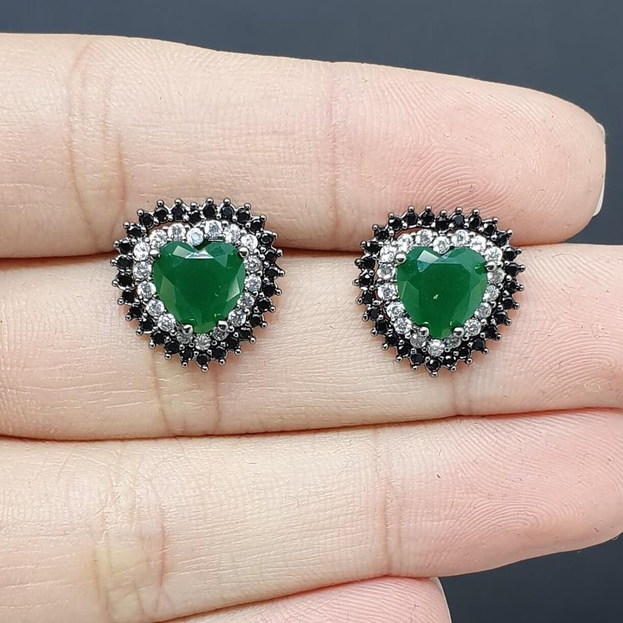 Brinco Semi Joia Coração Ródio Negro Verde