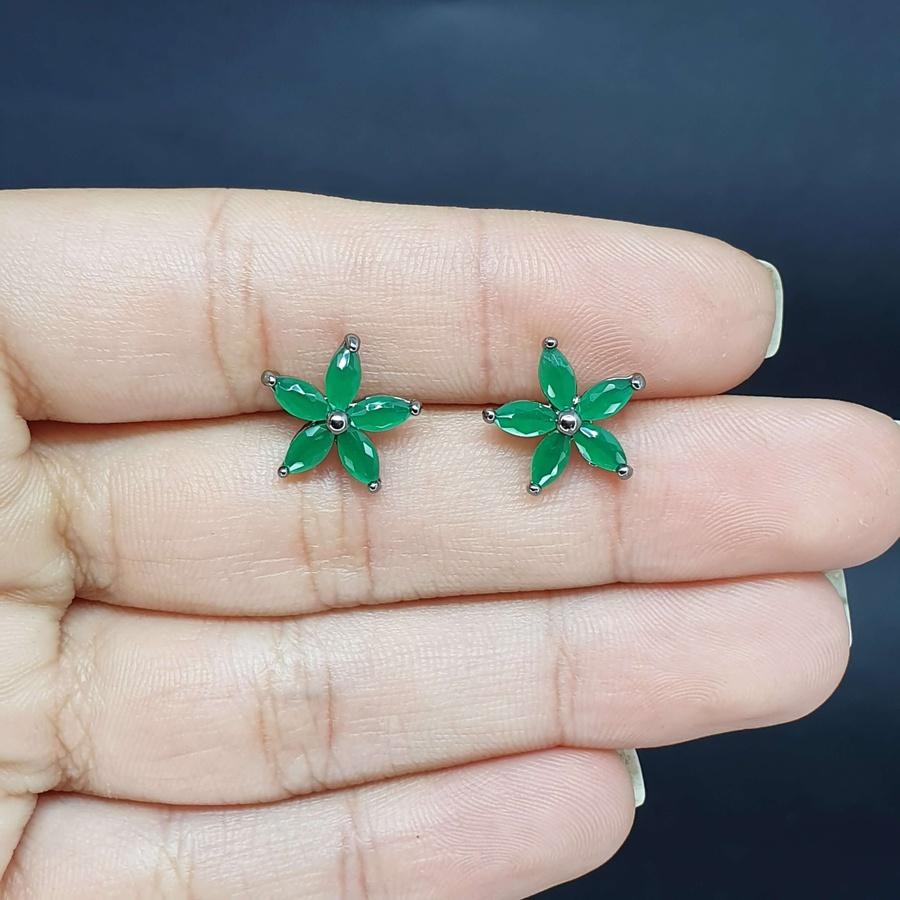 Brinco Semi Joia Florzinha Ródio Negro Verde