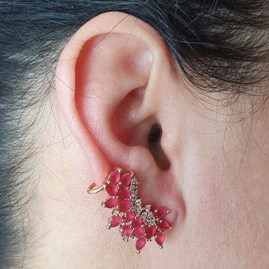 Brinco Ear Cuff Semi Joia Kamilly Ouro Rosa