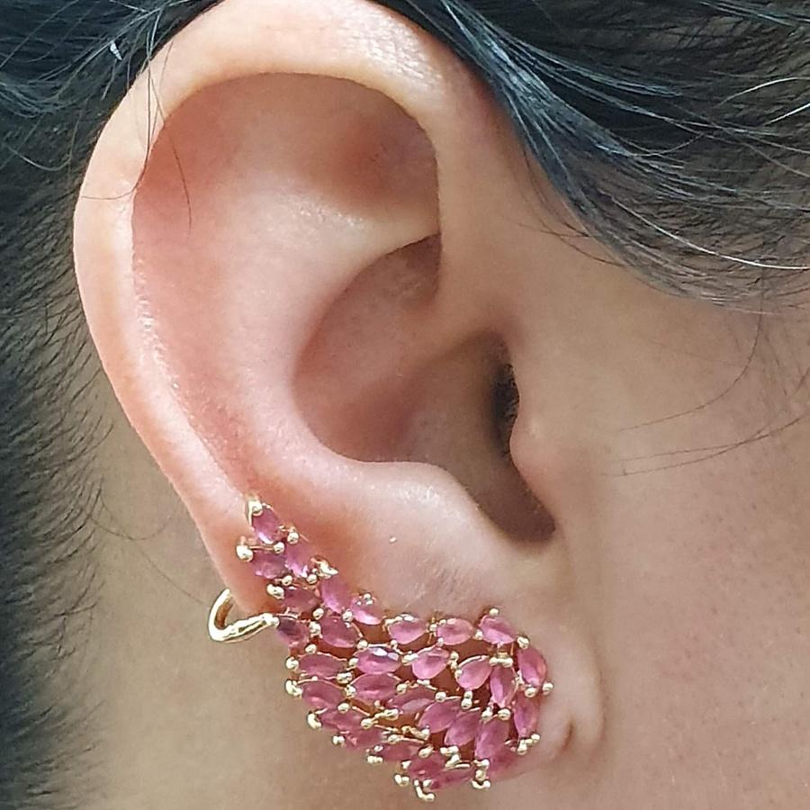 Brinco Ear Cuff Semi Joia Asa Ouro Rosa