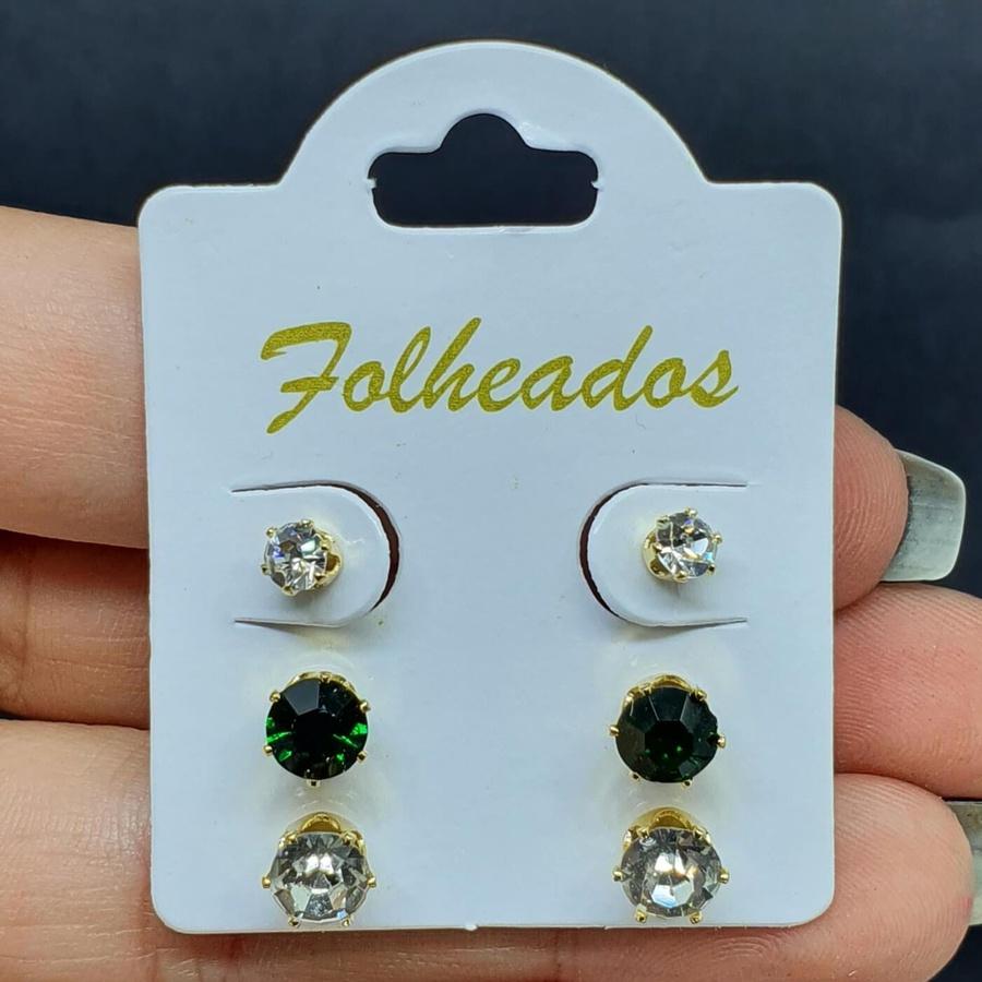 Kit De Brincos Folheados Dourado Verde