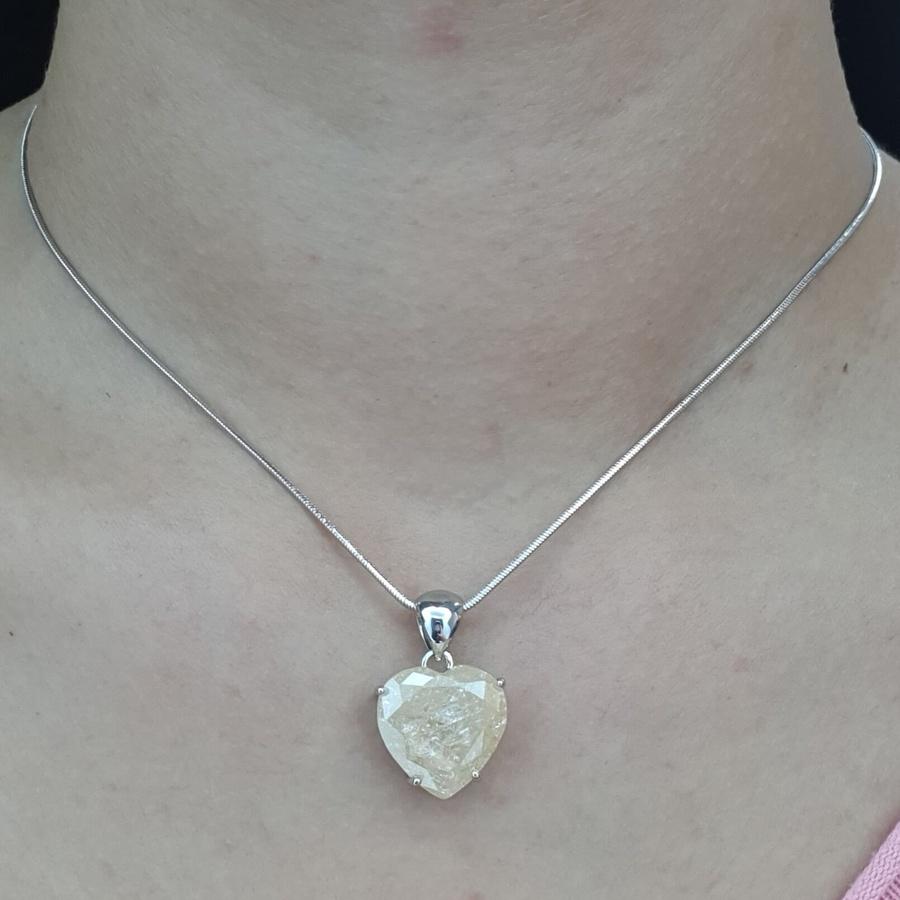 Colar Folheado Coração Prata Pedra Fusion Champanhe