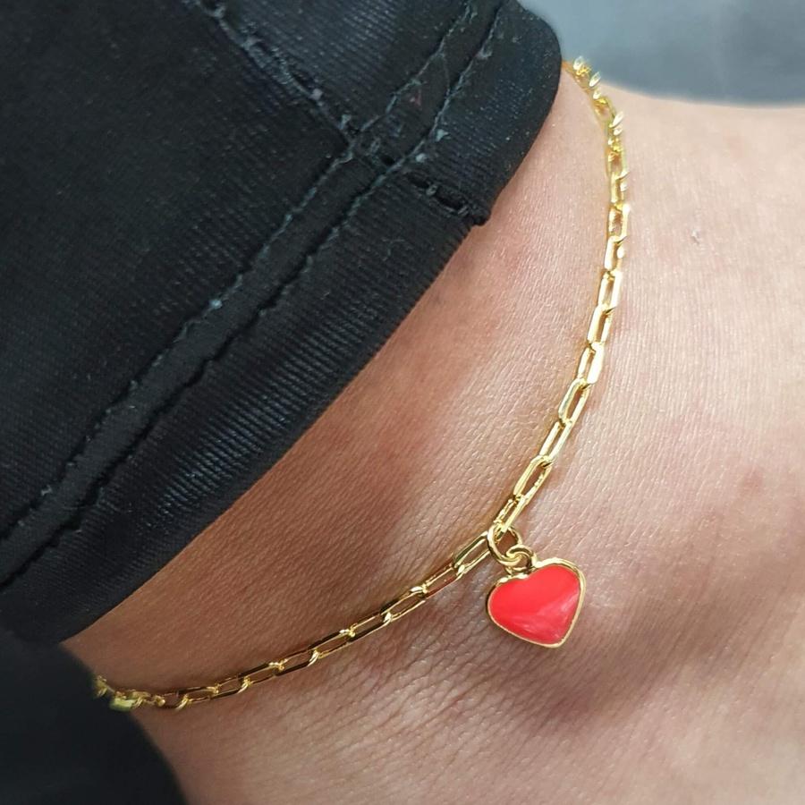 Tornozeleira Folheada Dourada Coração Laranja