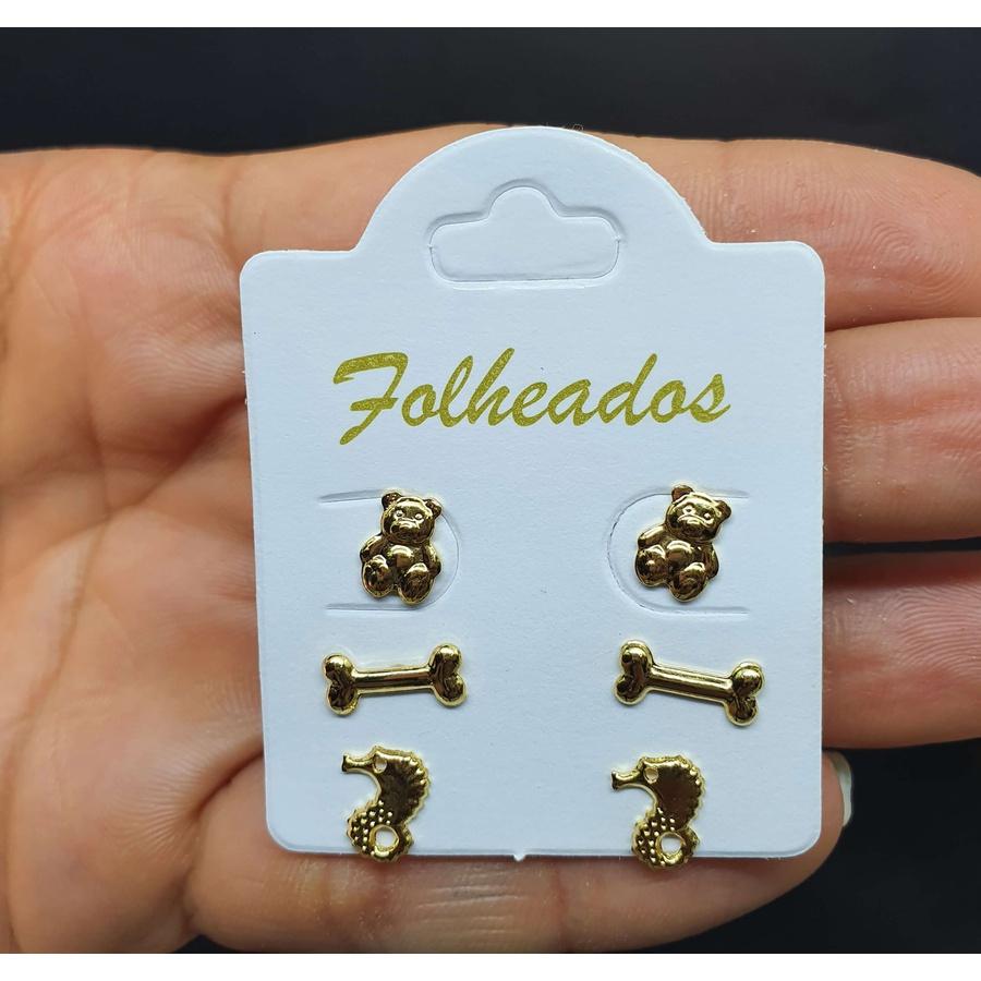 Kit De Brincos Folheados Dourado Cavalo Marinho