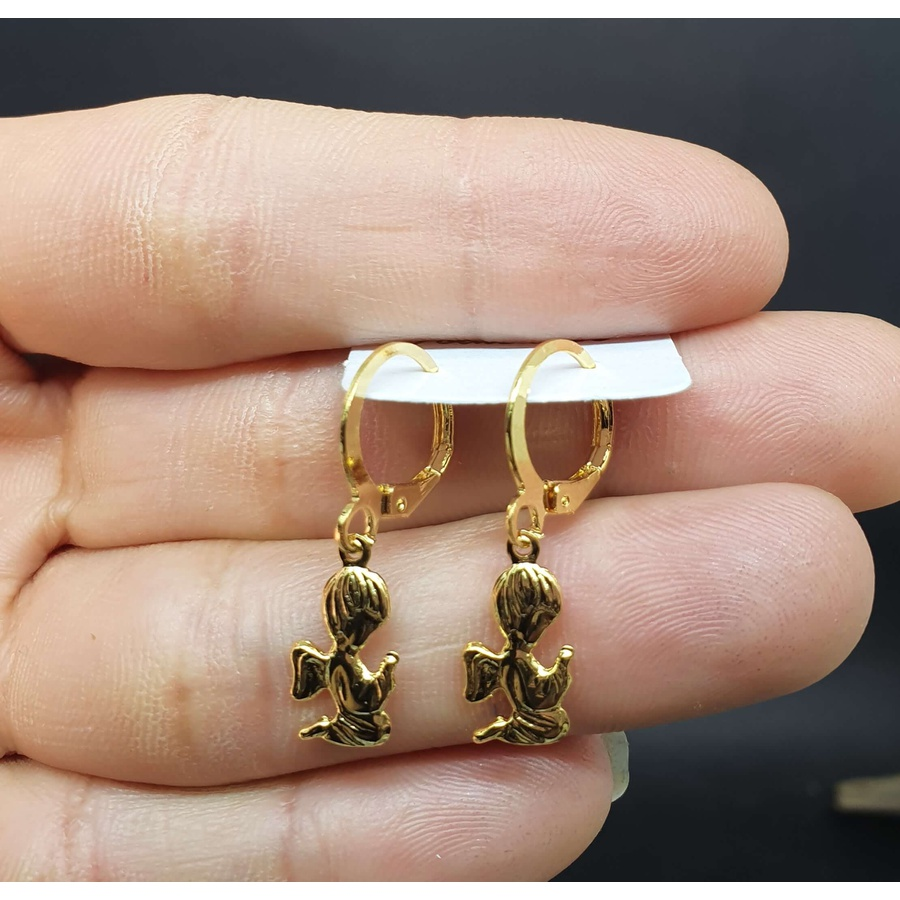 Mini Argola Folheada Dourada Anjo