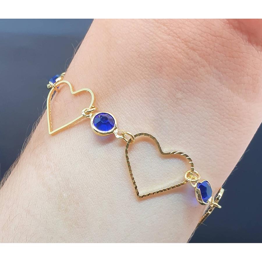 Pulseira Folheada Dourada Coração Azul