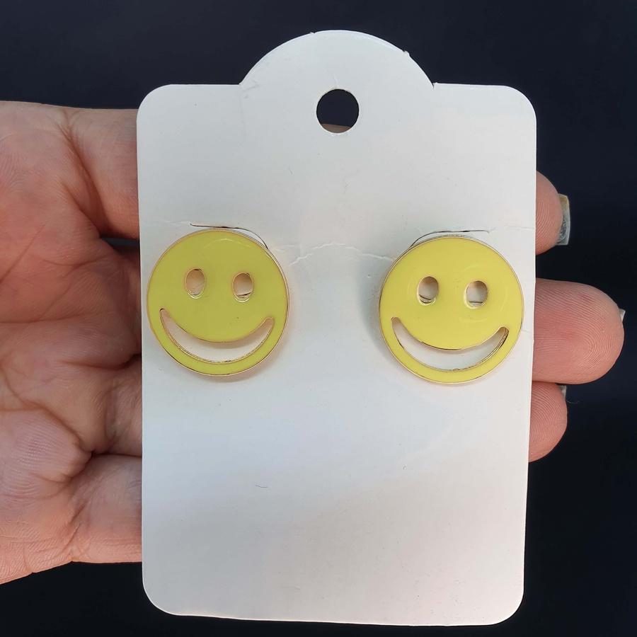 Brinco Folheado Dourado Smile Amarelo Claro