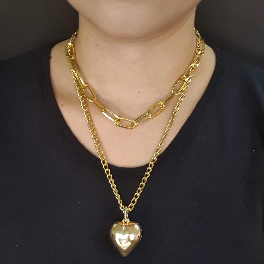 Colar Duplo Elos Dourado Coração