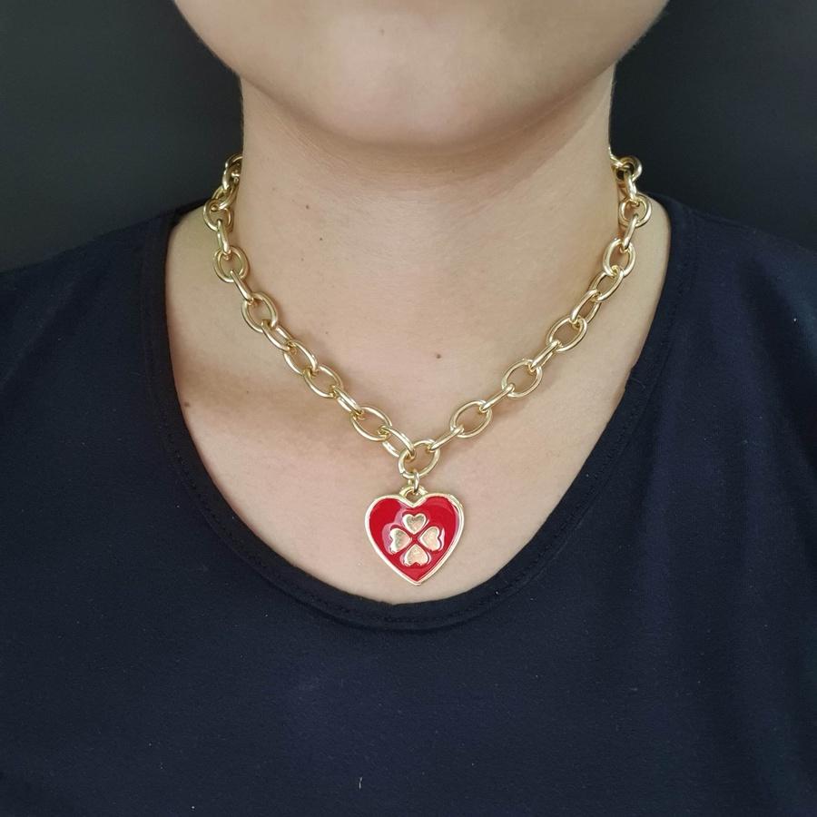Colar Elos Coração Esmaltado Dourada Vermelho
