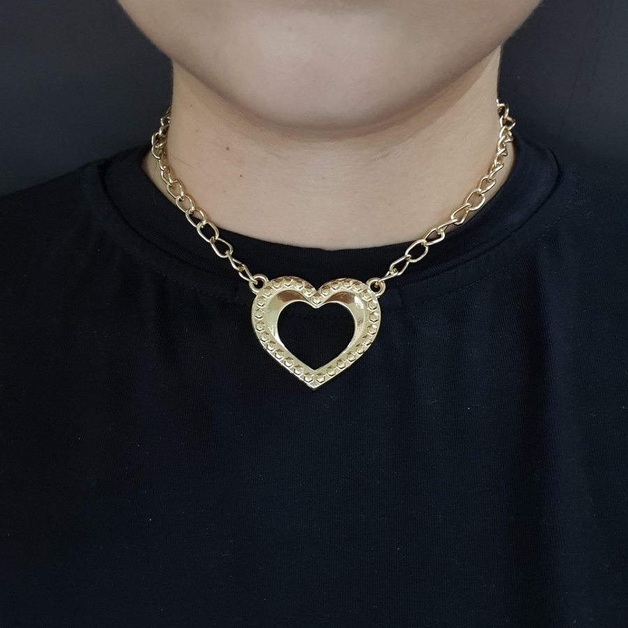 Colar Elos Dourada Coração