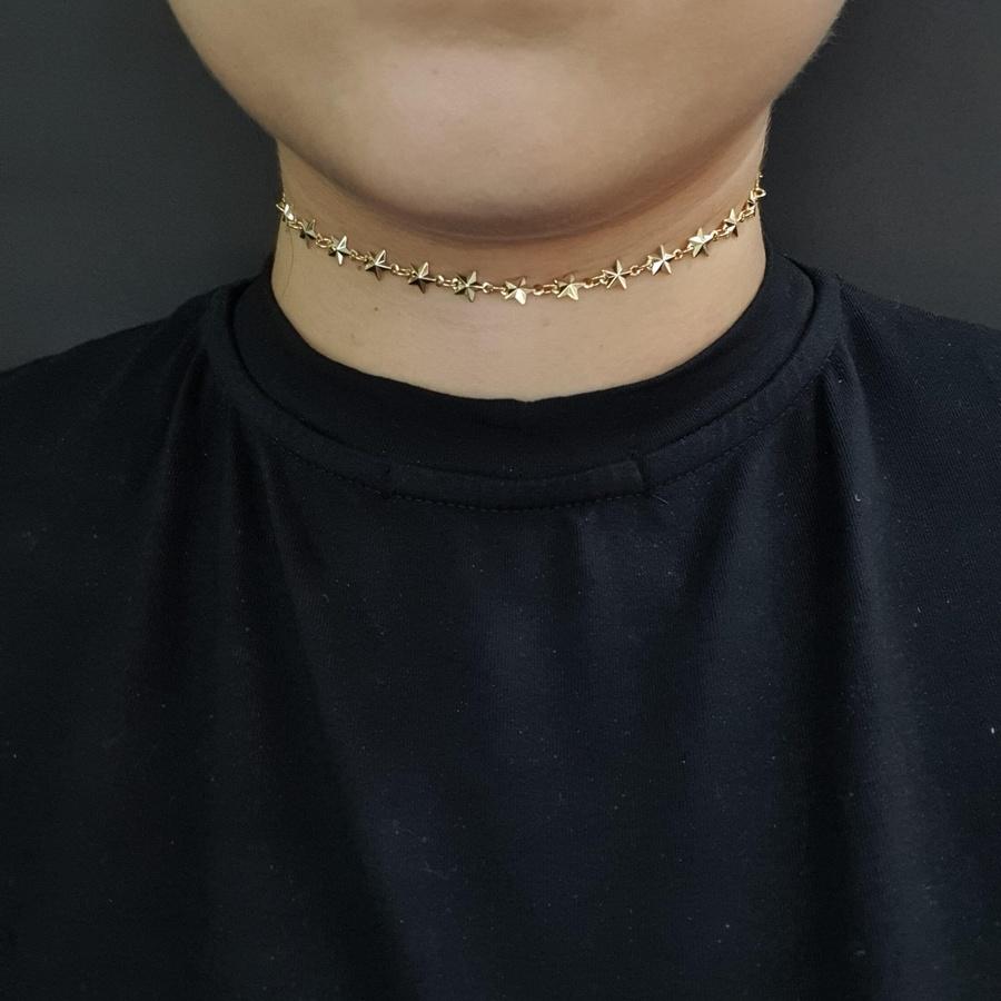 Colar Choker Folheado Dourado Estrela