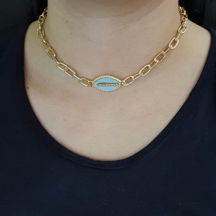 Colar Elos Dourado Búzios Esmaltado Azul