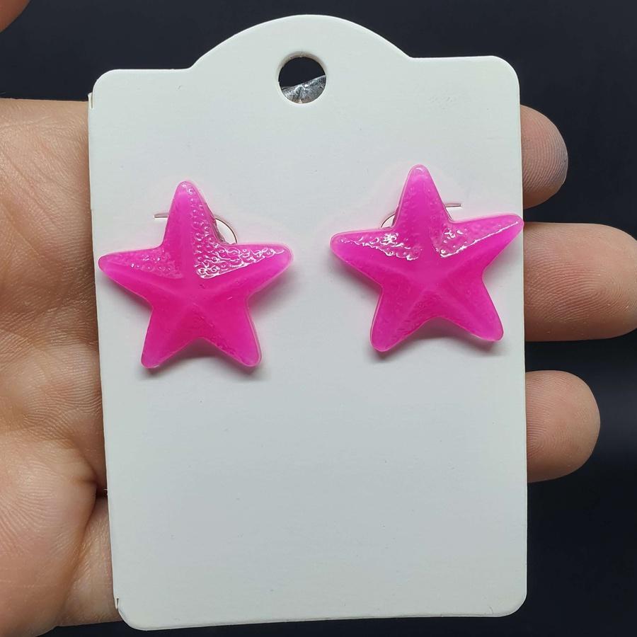 Brinco Estrela Do Mar Rosa Escuro