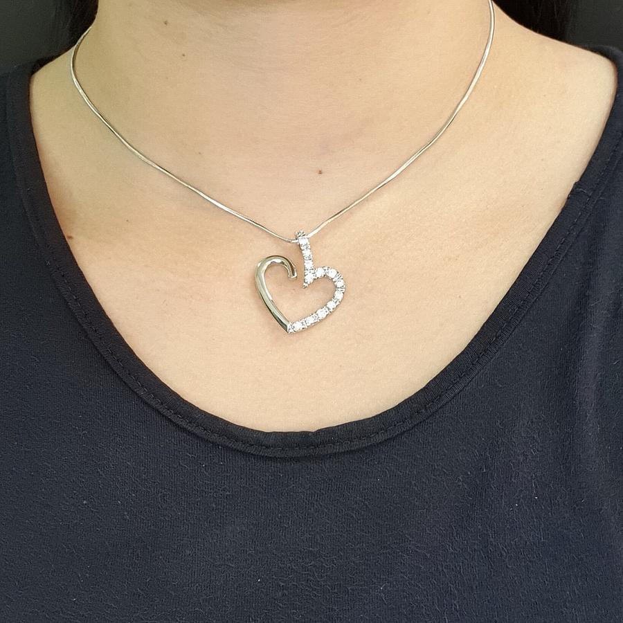 Colar Folheado Prata Coração