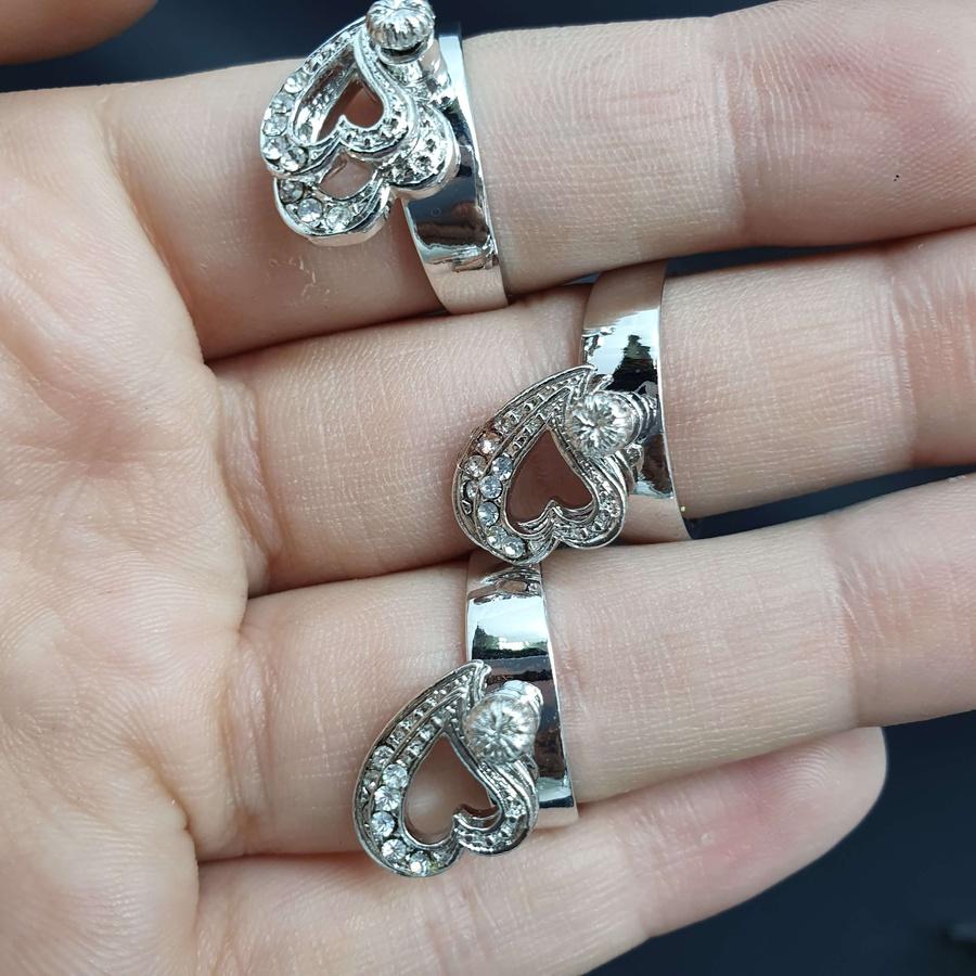 Kit Com 3 Anéis Prata Coração