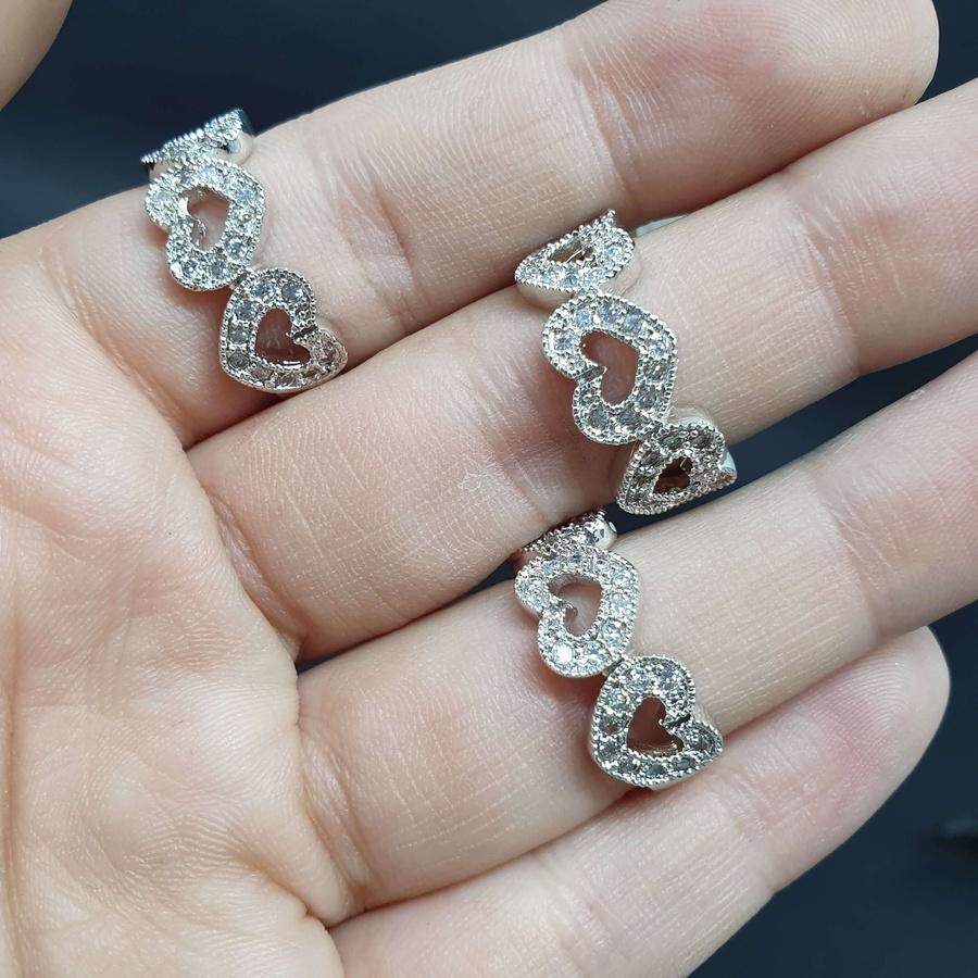 Kit Com 3 Anéis Folheados Prata Coração