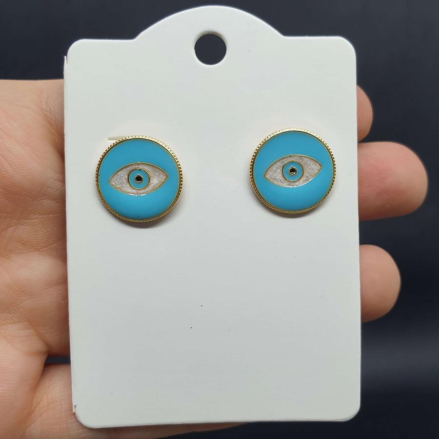 Brinco Folheado Dourado Olho Grego Esmaltada Azul
