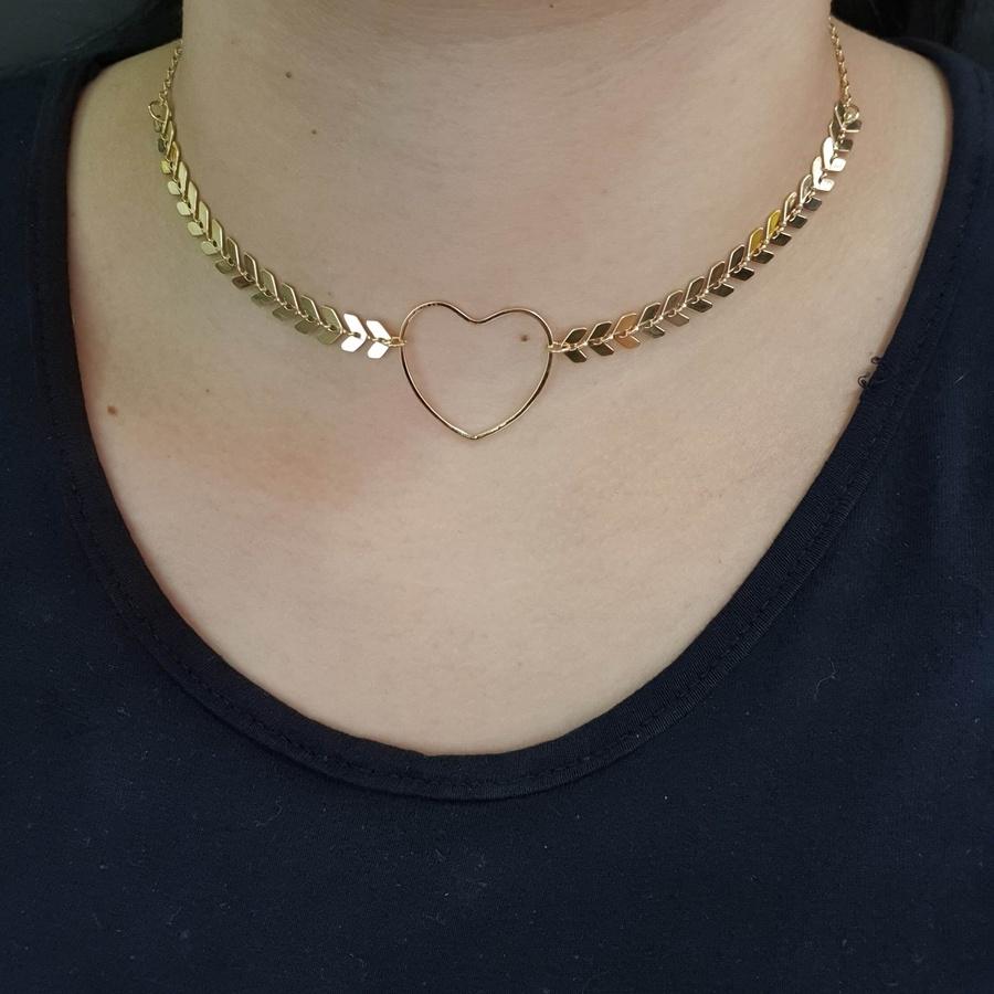 Colar Folheado Dourado Coração e Escamas