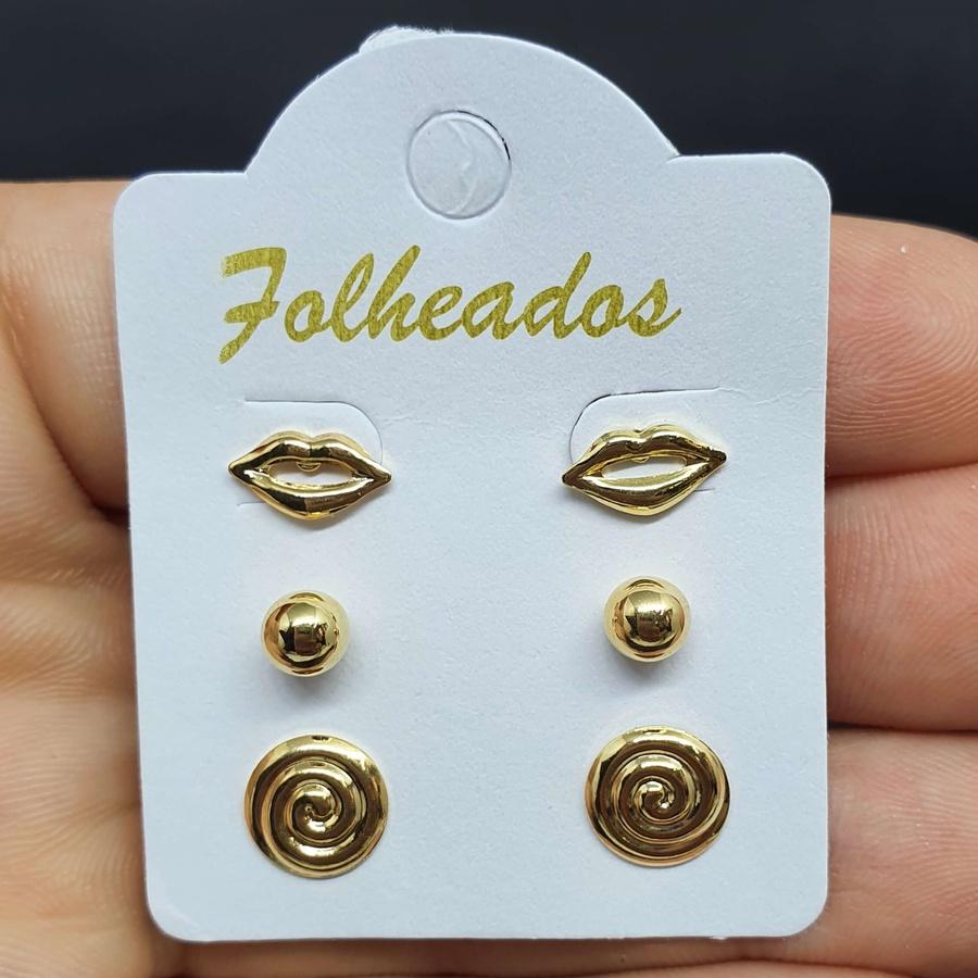 Kit De Brincos Folheados Dourado Boca