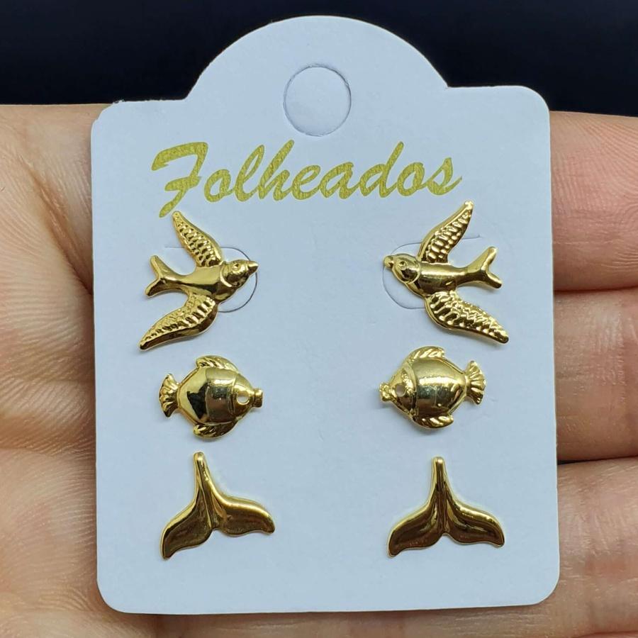 Kit De Brincos Folheados Dourado Pássaro