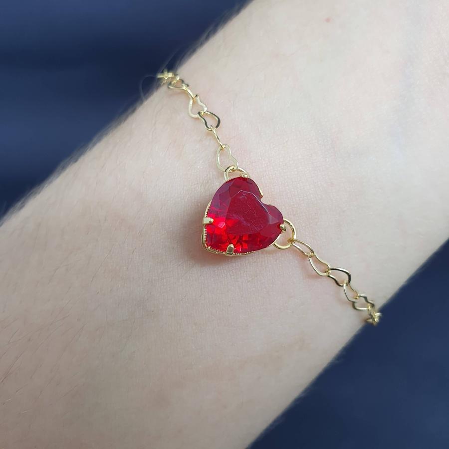 Pulseira Folheada Dourado Coração Vermelho
