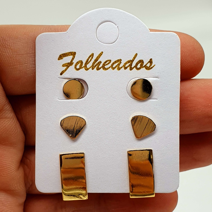 Kit De Brincos Folheados Dourado Geométrico