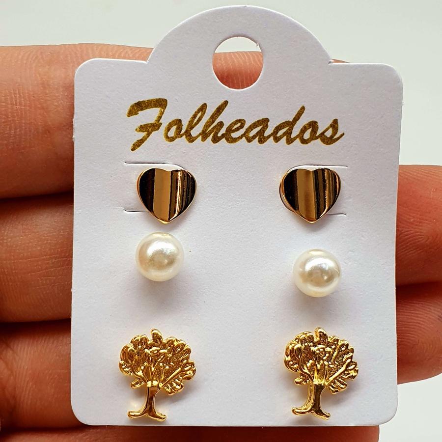 Kit De Brincos Folheados Dourado Árvore Da Vida