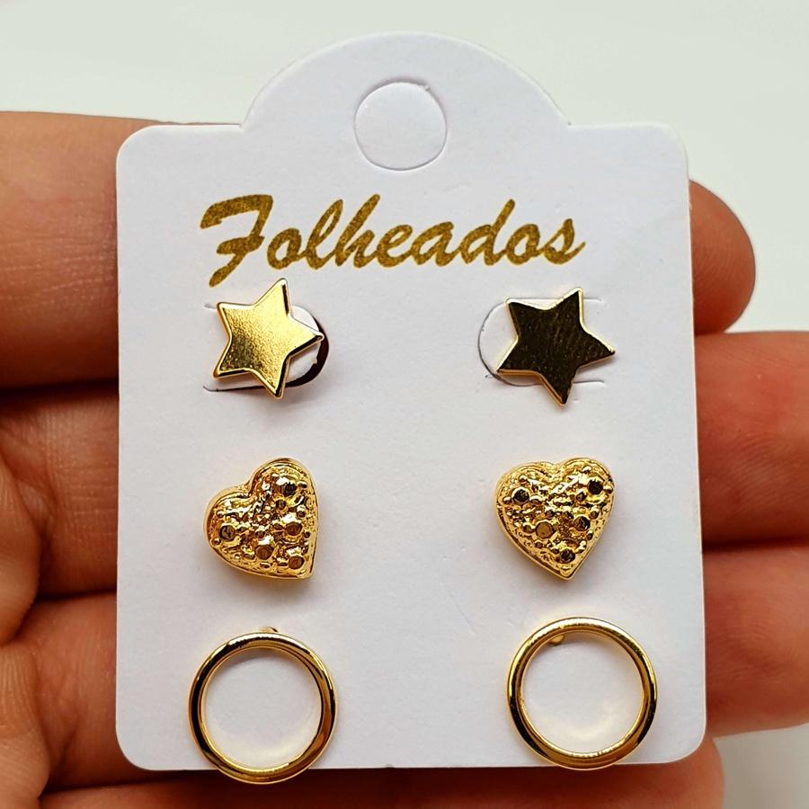 Kit De Brincos Folheados Dourado Estrela