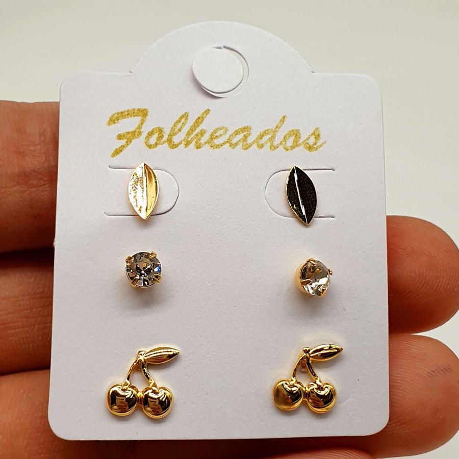 Kit De Brincos Folheados Dourado Cereja