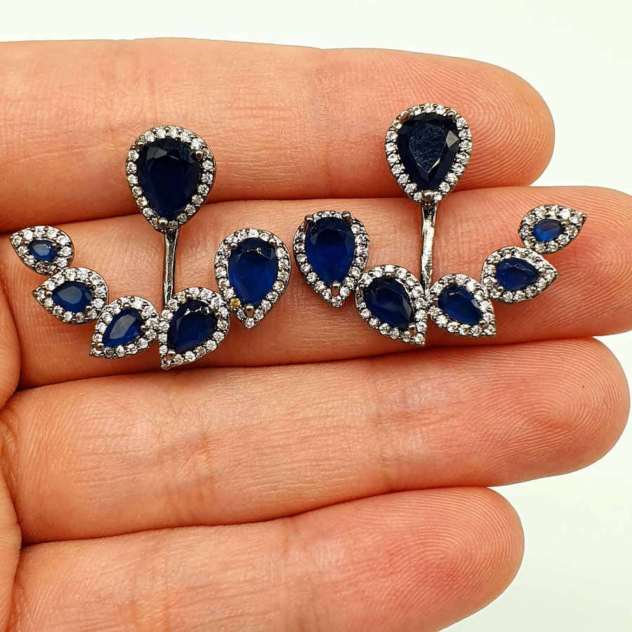 Brinco Ear Hook Semi Joia Ródio Negro Azul Marinho