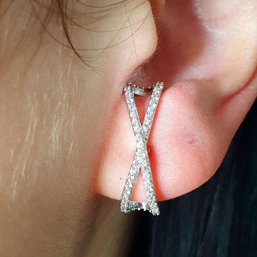 Brinco Ear Hook Semi Joia Ródio Branco