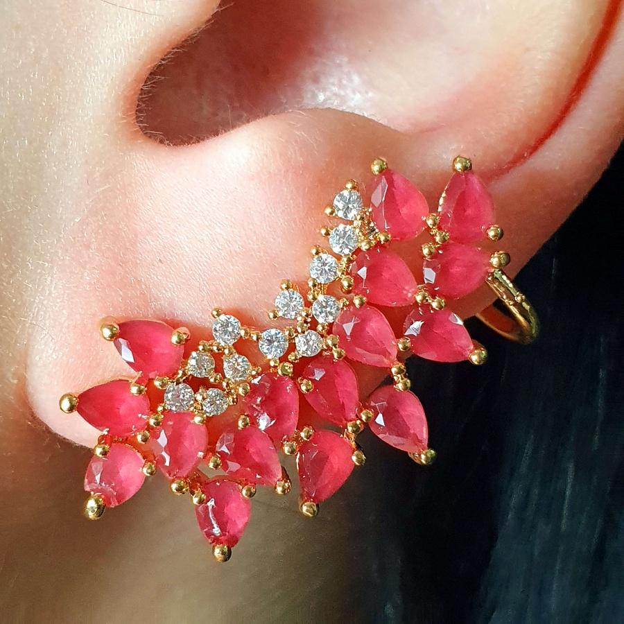 Brinco Ear Cuff Semi Joia Ouro Rosa